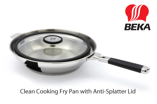 Beka Cookware Clean Cooking Fry Pan with Anti-Splatter Lid