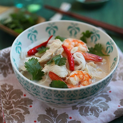 Coconut Lime Chicken Noodle Soup Recipe – So yummy and refreshing you would want more than one bowls | rasamalaysia.com