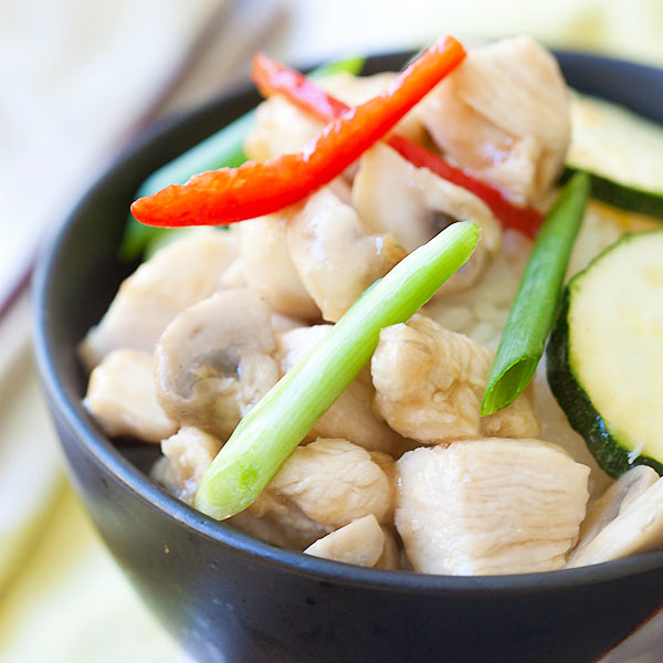 Mushroom chicken is a simple Chinese recipe with mushroom, chicken and zucchini stir-fried in a simple brown sauce. Easy and tasty mushroom chicken recipe | rasamalaysia.com