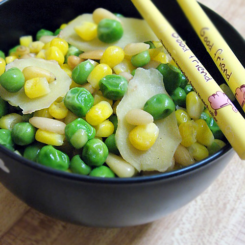 Stir-Fry Pine Nuts with Corn and Peas (金玉满堂): This Stir-Fry Pine Nuts, Corn and Sweet Peas of yellow-golden (pine nuts and corn) and jade-green (sweet peas) symbolizes: that prosperity and fortune fills your entire household and home. | rasamalaysia.com