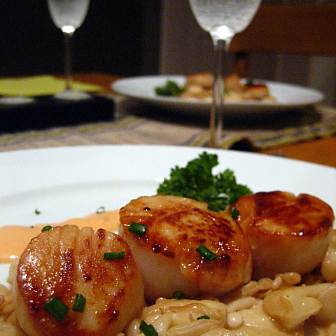 Seared Scallops in Spicy Cream Sauce with Buna Shimeji Mushrooms Recipe