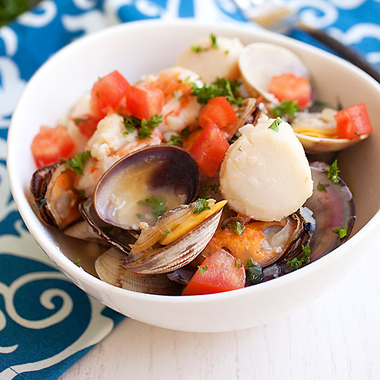 Seafood Stew - this seafood stew kicks start summer with briny flavors of shrimp, scallops, mussels and clams | rasamalaysia.com
