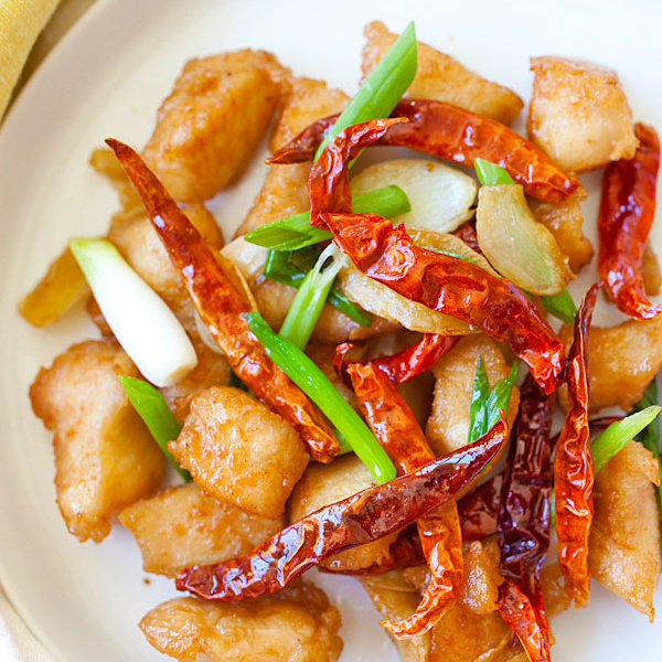 Sichuan wok-fried chicken is a spicy fried chicken dish with ginger, scallion, dried red chilies & Sichuan peppercorn. Amazing and you'll want more. | rasamalaysia.com