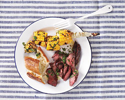 Skirt Steak and Corn with Chimichurri