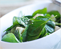 Spinach and Tofu Salad with Japanese Sesame Miso Dressing