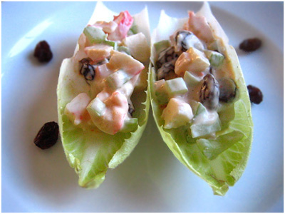 Artificial Crab Meat, and Raisins: this eye candy mini French endive with celery mayonnaise, artificial crab meat, and raisins are hassle free to prepare and you can make over a dozen of them in a jiffy. | rasamalaysia.com