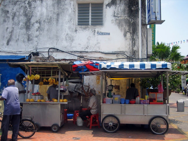 Stalls Selling Refreshments and Fruits