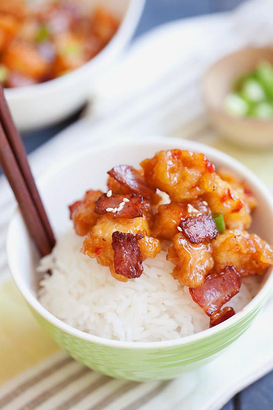 Copycat Panda Express Orange Chicken with Bacon