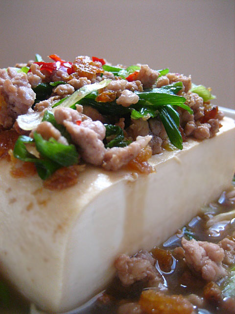 Steamed Tofu with Ground Pork - silkly tofu with generous toppings of ground pork, dried shrimp and fresh scallions. | rasamalaysia.com
