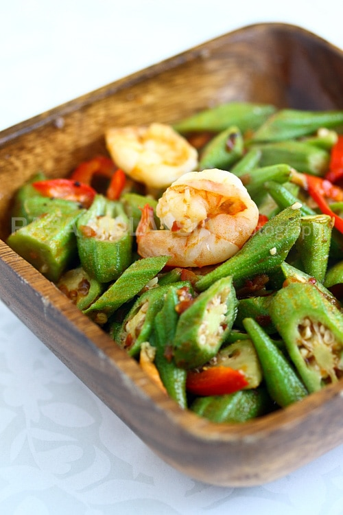 Sambal okra in a bowl.
