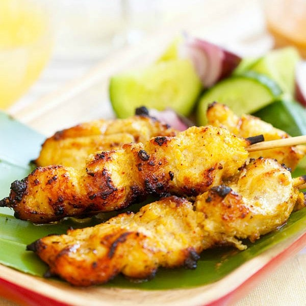 Chicken satay - grilled chicken skewers marinated with spices and served with peanut sauce. Easiest and BEST chicken satay recipe ever   rasamalaysia.com