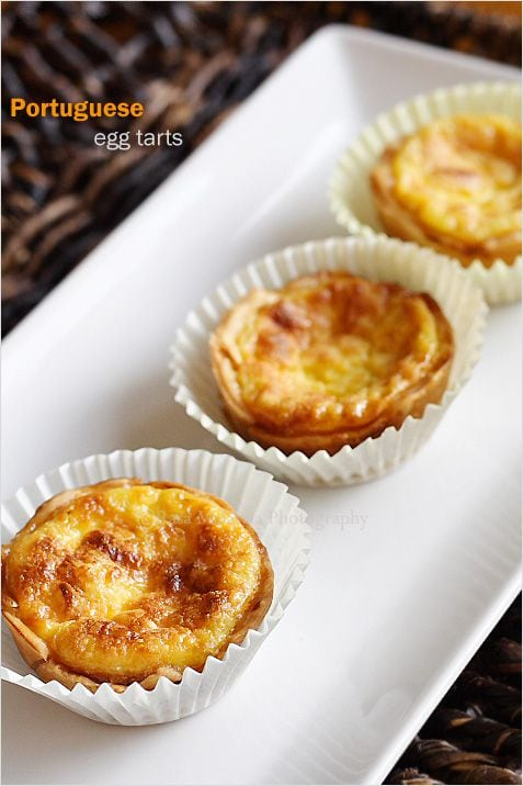 Portuguese egg tarts featuring delicious shells and egg mixture toasted to perfection