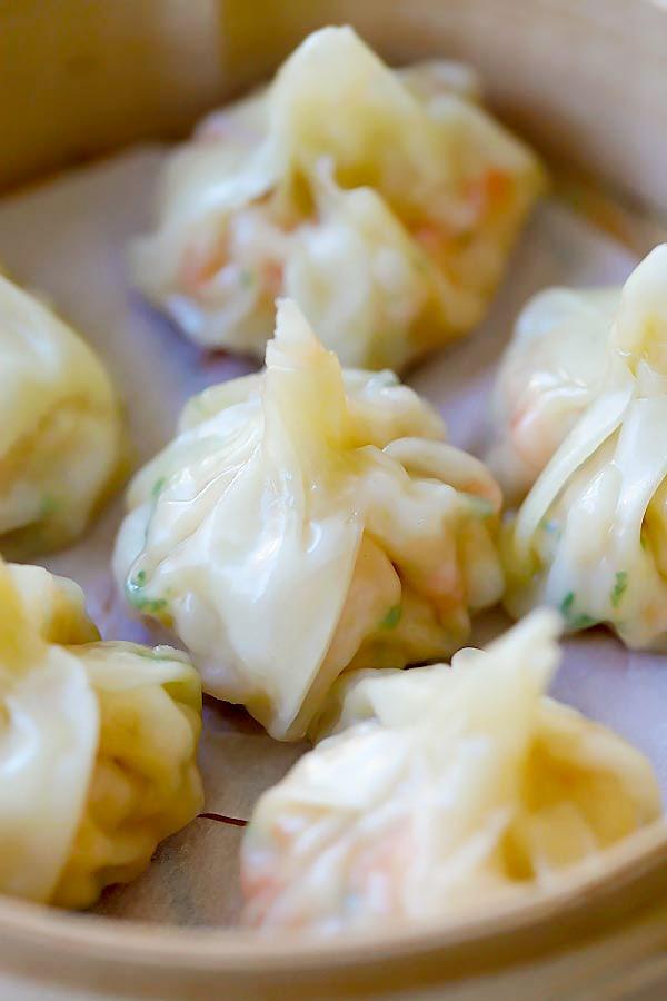 Close up of delicious shrimp wontons, super easy recipe.