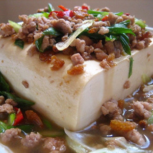 Steamed Tofu with Ground Pork