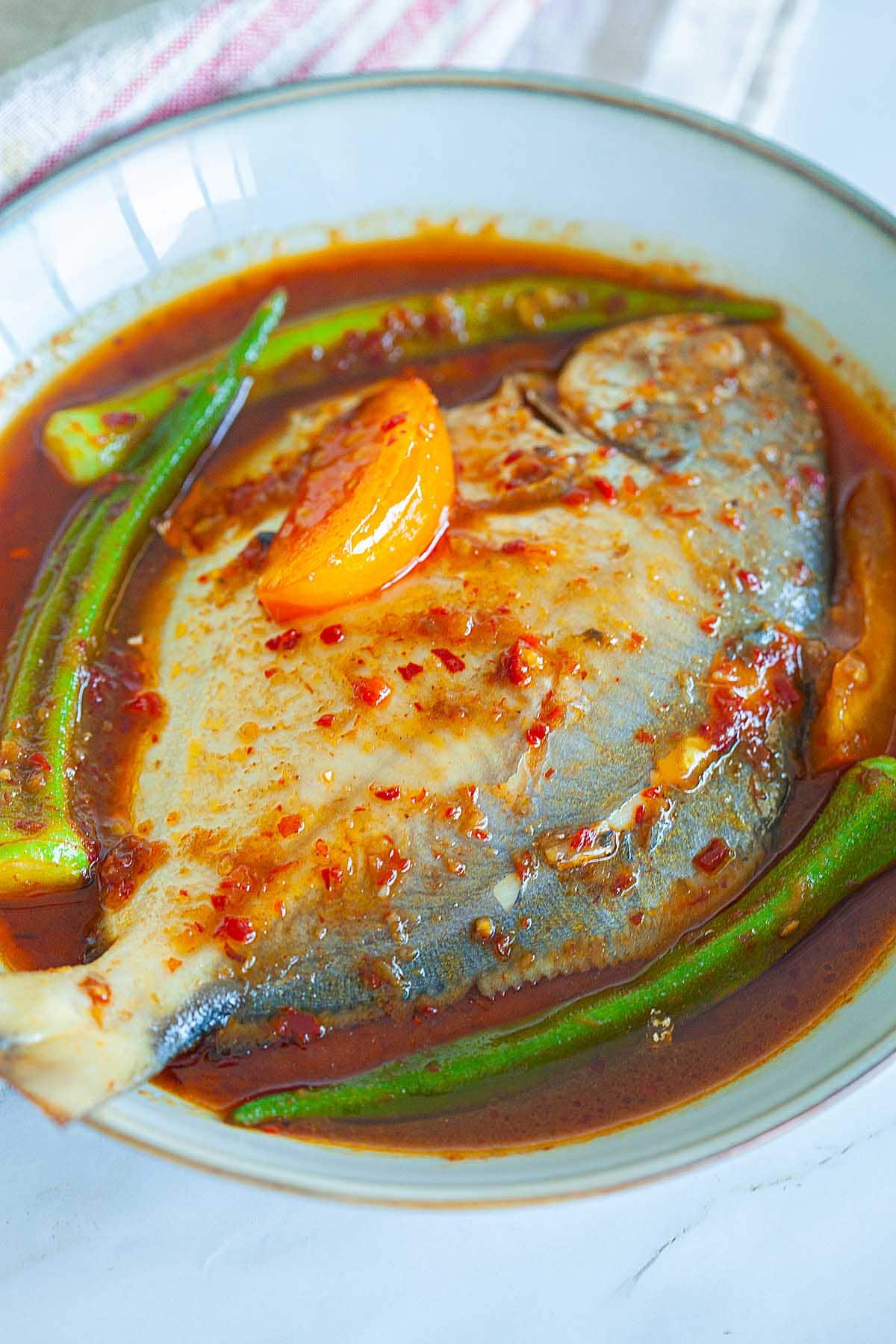 Fish with asam pedas.