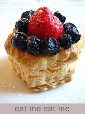 Strawberry and Blueberry Tarts Recipe - A package of Pepperidge Farm Puff Pastry Shells, frozen strawberry and blueberry, eggs, milk, sugar. | rasamalaysia.com