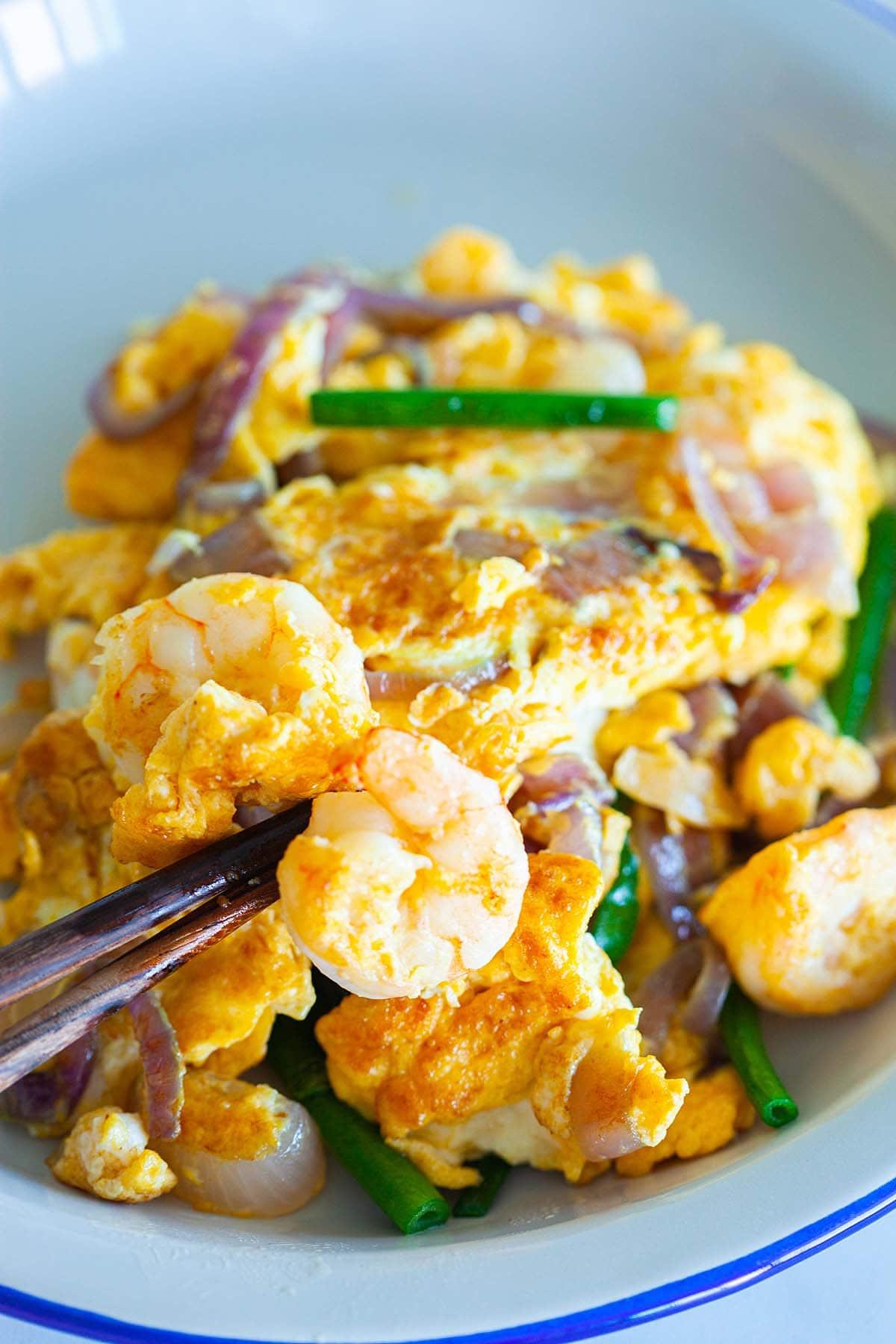 Shrimp omelette on a plate.