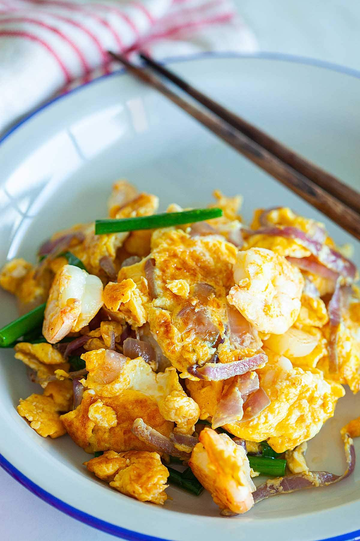 Shrimp omelette with onion.