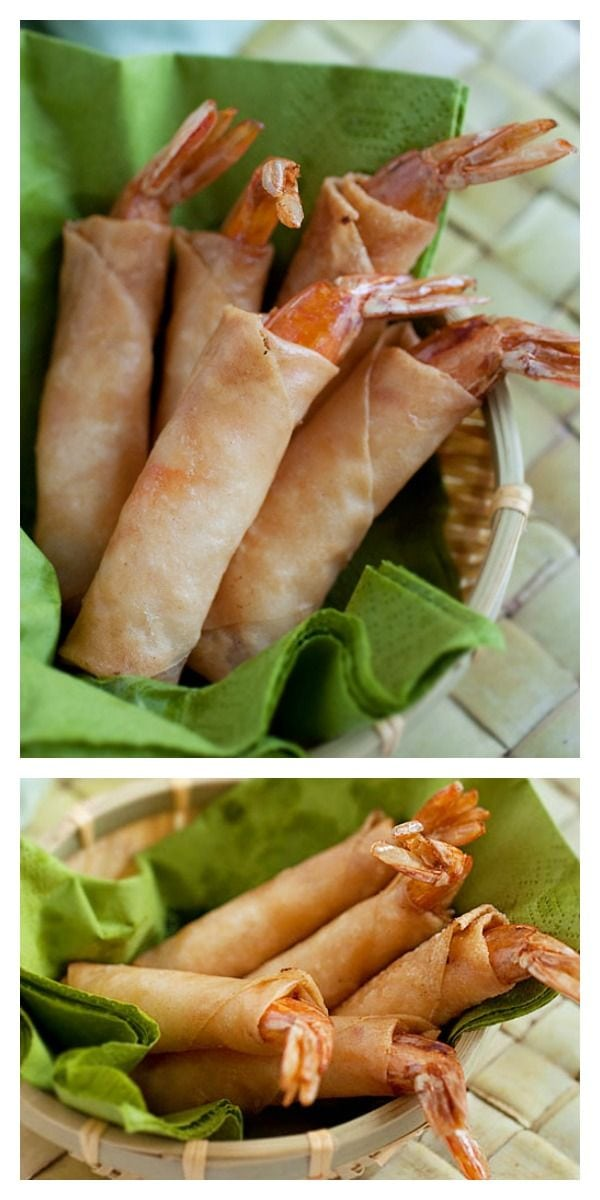 Firecracker Shrimp Recipe - Get some shrimp with spring rolls wrapper and deep-fried and you have the MOST DELICIOUS appetizer ever | rasamalaysia.com