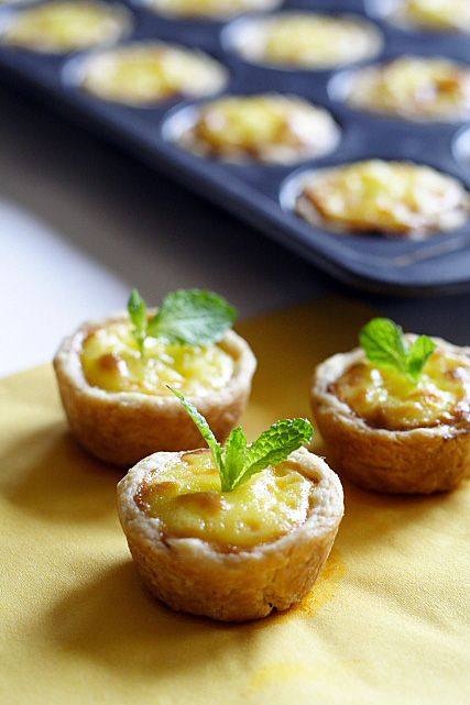 I made these mini Portuguese egg tarts for a birthday party a couple of days ago and I just have to share the pictures above with you because they are simply too cute.   rasamalaysia.com