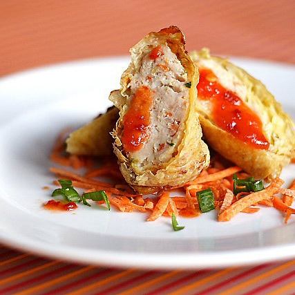 Minced Chicken and Pork Rolls – Protein (meat) wrapped with bean curd skin and deep-fried to perfection.   rasamalaysia.com