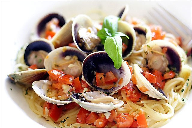 Capellini with Cockle Clams and Lemon Butter Sauce - bursting with flavor -- the freshness of diced roma tomatoes and sweet basil leaves, all happily married in a light lemon butter sauce. | rasamalaysia.com
