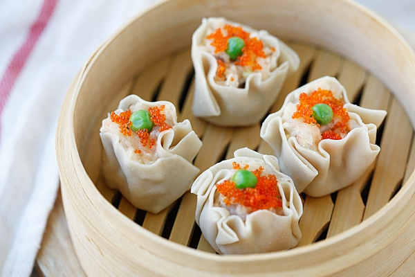 Chicken Shu Mai (Siu Mai) is a popular dim sum item. Learn how to make chicken shu mai with this quick and amazing recipe that is better than Chinatown!!   rasamalaysia.com