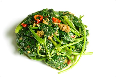 Belacan Yam Leaf (Sweet Potato Leaf) recipe - A signature Malaysian dish called kangkung belacan or stir-fried water spinach/morning glory with shrimp paste. The key ingredient is none other than belacan, the Malaysian variety of shrimp paste. | rasamalaysia.com