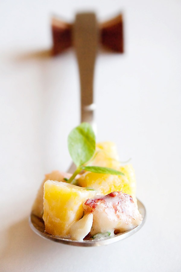 Lobster and mango salad - A refreshing and delicious lobster salad recipe with mango. Lobster and mango salad is a great salad to start a multi-course meal.   rasamalaysia.com