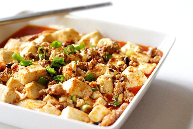 Learn how to make this super easy mapo tofu at home. Close up of this delicious mapo tofu.