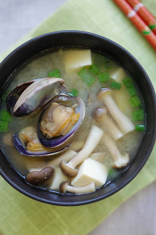 Delicious and easy Asari clams miso soup in a bowl.
