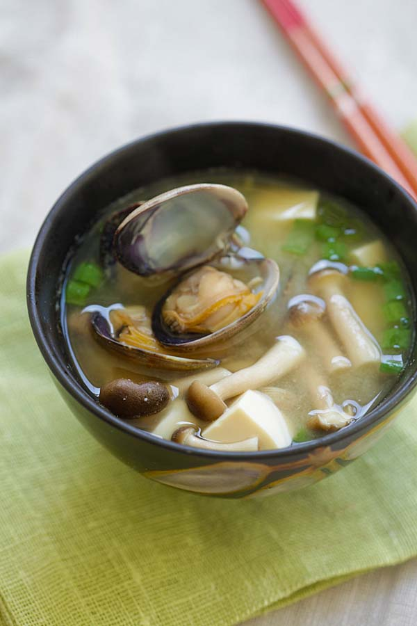 Fresh Japanese Asari Miso Soup with Manila clams.