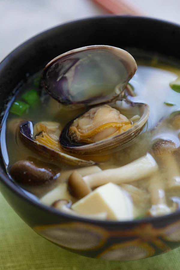 Close up Japanese miso soup with Manila clams.