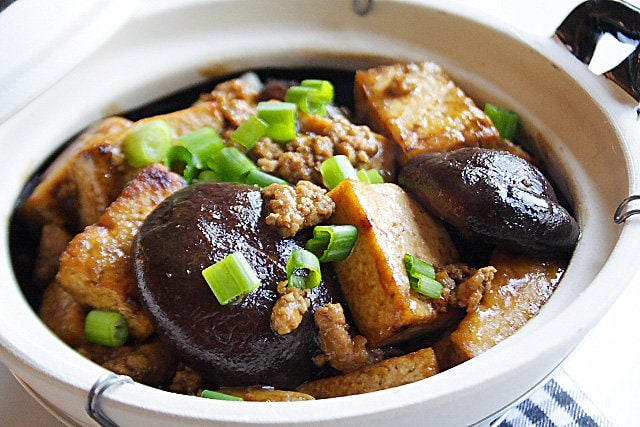... This braised bean curd (firm tofu) with mushrooms would go well with