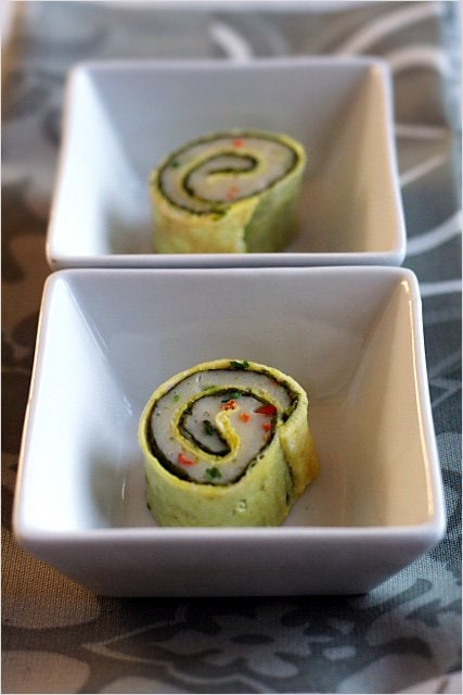 Steamed Fish Rolls - not sushi, but fish paste wrapped with plain egg omelet and then steamed to mouth-watering perfection. | rasamalaysia.com