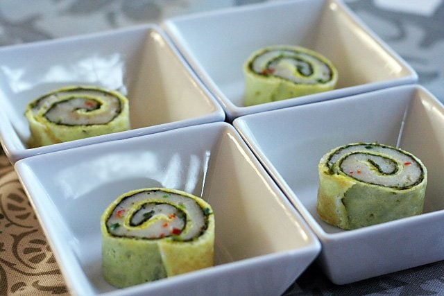 Steamed Fish Rolls - not sushi, but fish paste wrapped with plain egg omelet and then steamed to mouth-watering perfection.   rasamalaysia.com