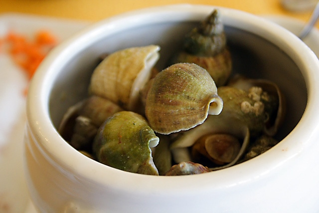 French Snails (Bulots Mayonnaise) Recipe - Served cold with garlic mayonnaise. | rasamalaysia.com