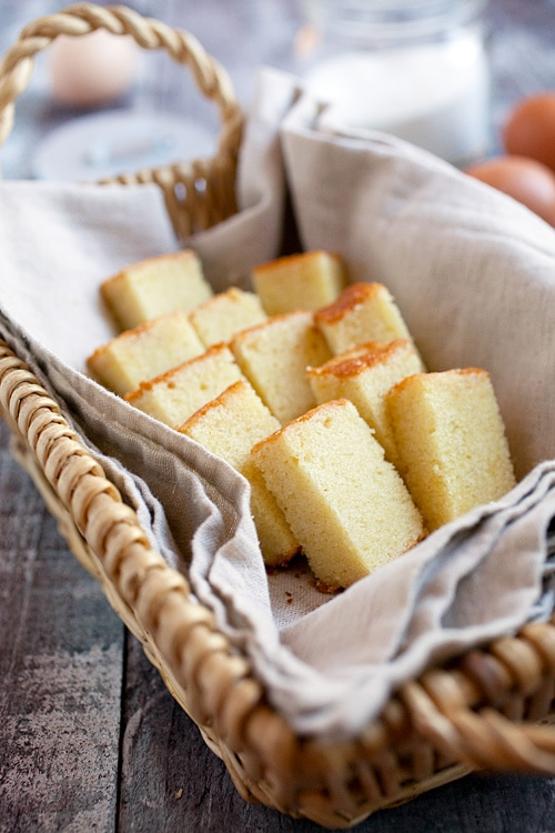 Rich, sweet and moist butter cake in a serving basket.
