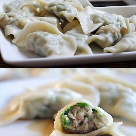 Chinese Jiaozi Recipe (Pork and Chive Dumplings) - Ground pork is the most common ingredient, but you can also fill these jiaozi/dumplings with beef, chicken, shrimp, vegetables (for vegetarian jiaozi/dumplings). | rasamalaysia.com