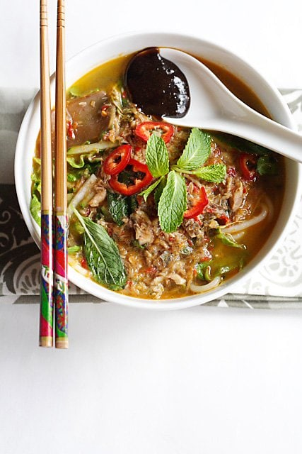 Penang Assam Laksa - spicy and sour fish noodles, one of the most famous noodle dish from Malaysia | rasamalaysia.com