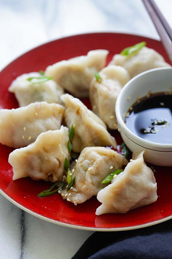 Homemade Chinese pork jiaozi.