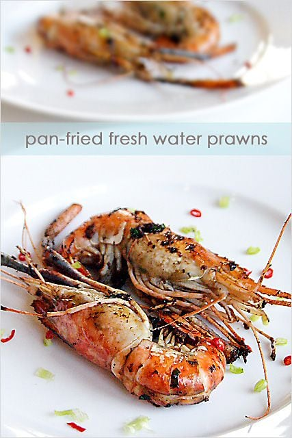 This pan-fried prawns recipe is probably one of the easiest but remarkably delicious recipes for prawns–fresh water prawns pan-fried with soy sauce, cooking wine, and a wee bit of sugar. | rasamalaysia.com