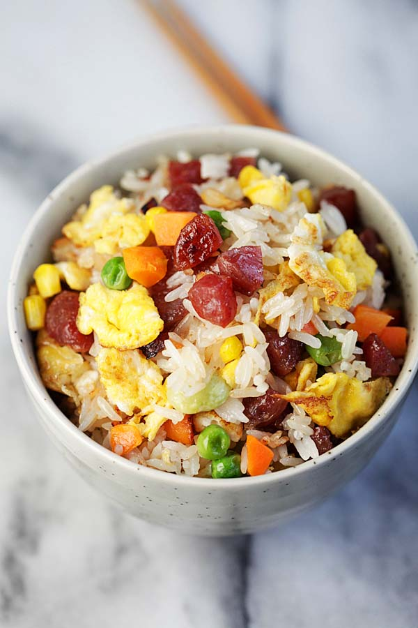 Chinese traditional Fried Rice with Chinese sausages, in a bowl.