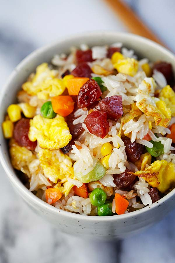 Chinese fried rice easy delicious recipes rasa malaysia chinese fried rice homemade fried rice recipe with chinese sausage shrimp eggs and ccuart Image collections