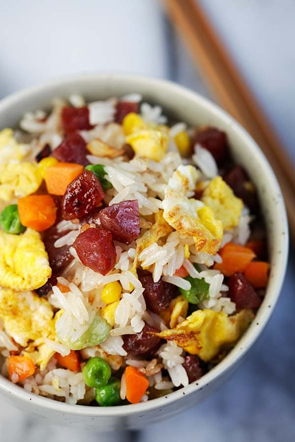 Fried Rice - homemade Chinese fried rice recipe with Chinese sausage, vegetables, eggs and steamed rice. So easy and much better than takeout | rasamalaysia.com