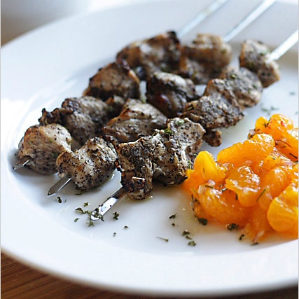 Jamaica Jerk Chicken with Mandarin Orange Salsa - juicy and moist jerk-marinated chicken with refreshing salsa | rasamalaysia.com