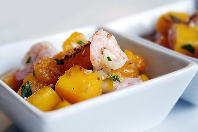 Fruit Salad Recipe (with Baby Shrimps and Toasted Coconut): This is especially refreshing for those in Southern California now because of the heat wave, so here is the recipe to share with you. | rasamalaysia.com