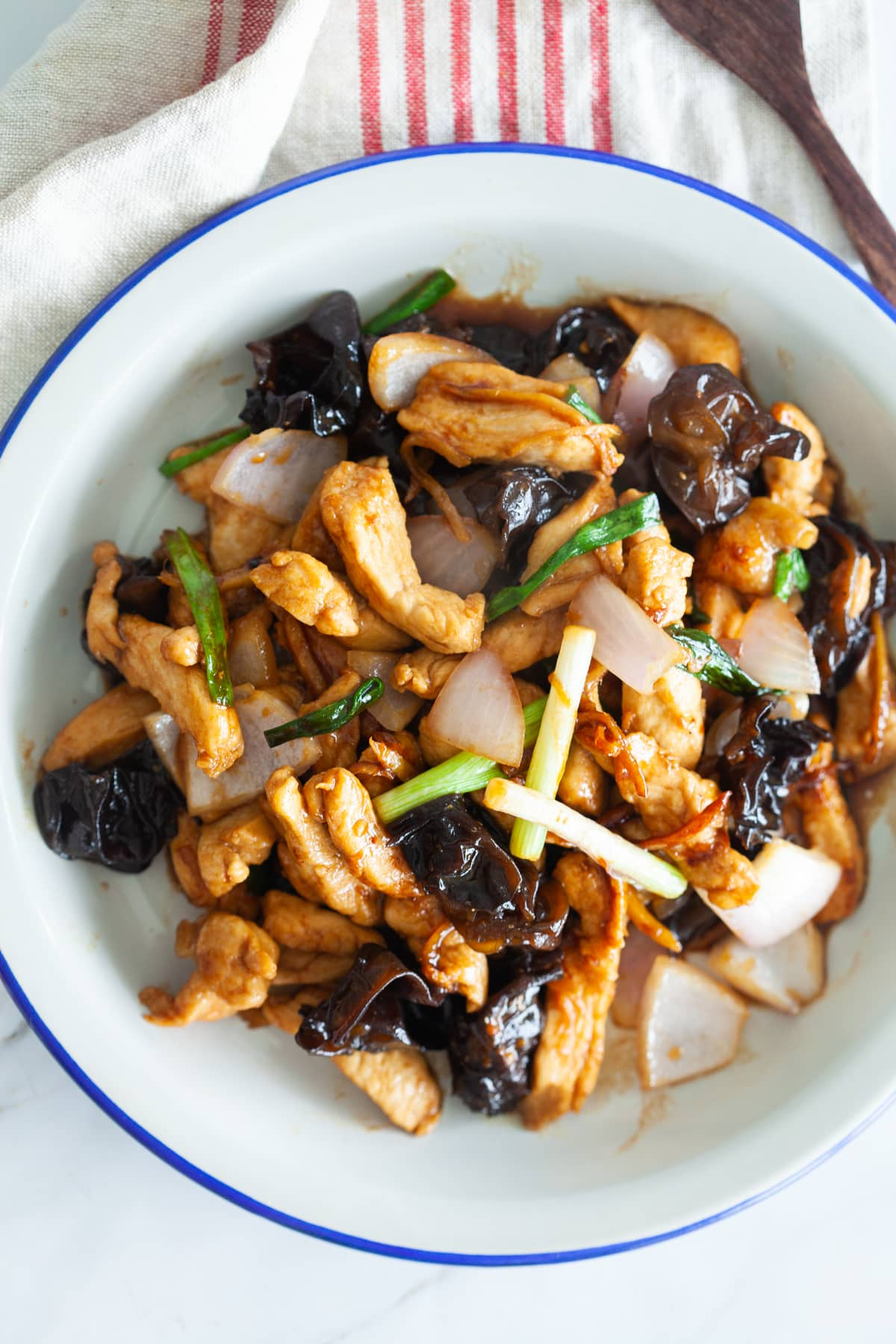 Ginger and black fungus chicken.
