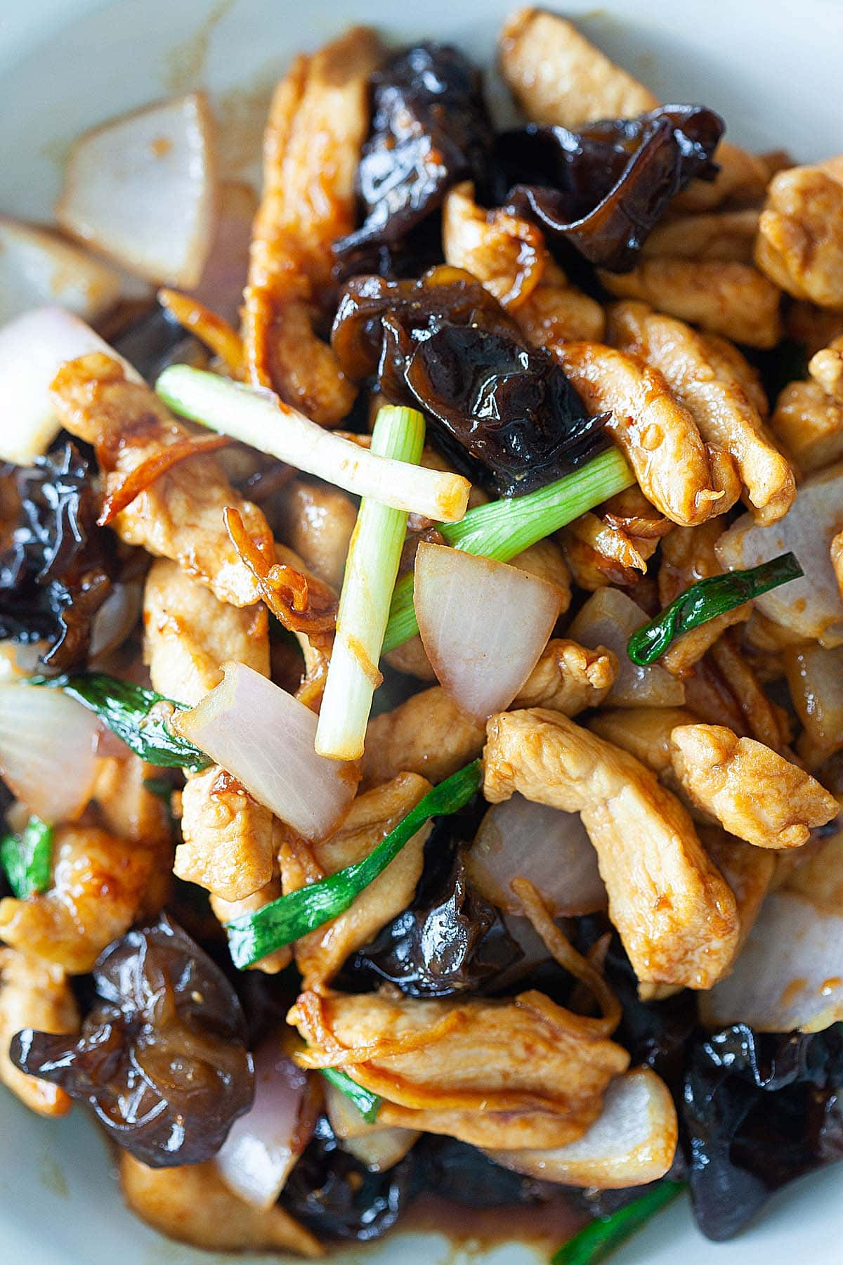 simple and delicious recipe with ginger and black fungus chicken served with rice.