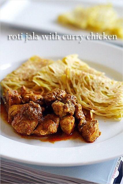 Roti Jala, lacy pancakes. So yummy with chicken curry.   rasamalaysia.com